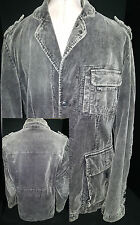 EDC by Esprit Mens Distress Courdory Jacket Coat Elbow Patch Gray Small Medium