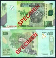 CONGO DEMOCRATIC REPUBLIC 1000 (1.000) FRANCS 2013 SPECIMEN UNC