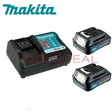 """Makita BL1016 12V Max CXT 1.5Ah Li-Ion Batteries (2) & DC10WD Charger """"A Grade"""""""