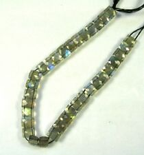 "LABRADORITE double drilled faceted rectangle beads AAA 8 x 5.5mm 8"" strand"