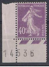 1927-31 - N° 236 ** 40c violet Bord de feuille avec coin daté 14-5-36 + défaut d