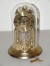 Vintage Working ELGIN Brass & Glass Dome 400 Day Skeleton Dial Anniversay Clock