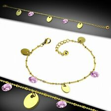 Steel Golden With Chain E Bracelet With Charms/With Ankle Oval Stainless