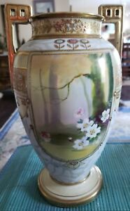 GORGEOUS ANTIQUE NIPPON LARGE GOLD MORIAGE SCENIC & FLORAL JEWEL VASE