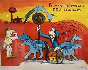 """Udo Lindenberg - Original Siebdruck """"Bunte Republik Deutschland """"  inkl. Rahmen"""