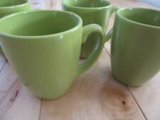 CORELLE SET OF FOUR LIME GREEN COFFEE MUGS CUPS STONEWARE VERY NICE