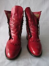 Justin Red Leather Kiltie Roper Lace Up Western Boot Made in USA Women's 8B
