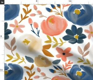 Floral Watercolor Spring Autumn Bloom Garden Spoonflower Fabric by the Yard