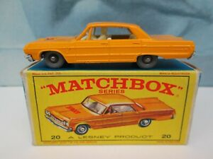 Matchbox/ Lesney 20c Chevrolet Taxi Orange-Yellow - GREY Plastic Wheels - Boxed