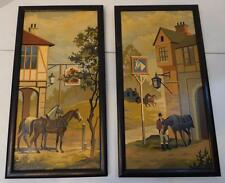 VINTAGE SET OF 2 PAINTINGS OF STABLES AND HORSES WITH BLACK WOOD FRAMES