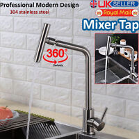Kitchen Taps Single Lever Faucet Brushed Steel Bathroom Basin Sink Mixer Tap New