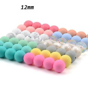 100pcs Silicone Teething Beads Baby Round Shape Nursing Necklace Food Grade Chew