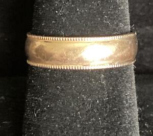 10K GOLD FILLED & STERLING SILVER 7.7MM MENS WEDDING BAND size 9 - 2.7 grams