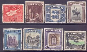 14/8.CYPRUS,1928,1934 8 OLD STAMPS LOT ,MAP,CATHEDRAL,STATUE,HORSE