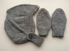 HAND KNITTED BABY HAT & MITTS - BIRTH TO 3 MONTH LIGHT GREY