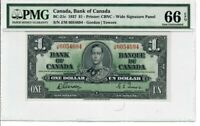 Canada $1 Dollar Banknote 1937 BC-21c PMG GEM UNC 66 EPQ