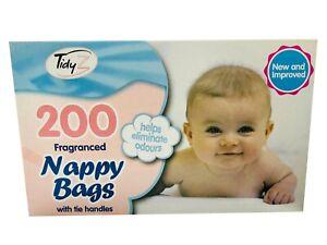 200 Disposable Fragranced Nappy Bags Baby Tie Handle Diaper Bin Sacks Scented