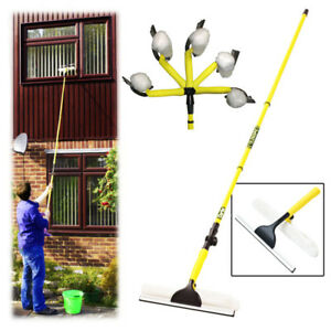New Telescopic Window Cleaner Extendable 3.5M Cleaning Brush Wash Head Squeegee