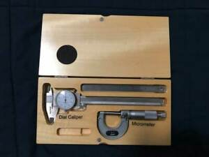3 Pc Set Alltrade Dial Caliper, Micrometer and Pocket Ruler Set in Wooden Box