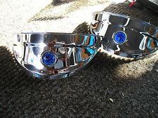 NEW PAIR OF VINTAGE STYLE CHROME BLUE DOT HEADLIGHT VISORS !