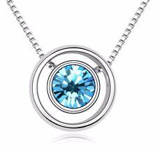 18K Gold GP made with Swarovski Element Crystal Round Pendant Necklace Sky Blue