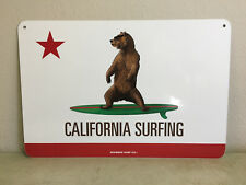 """""""California Surfing"""" indoor/outdoor wall decor aluminum state flag sign 18""""x12"""""""