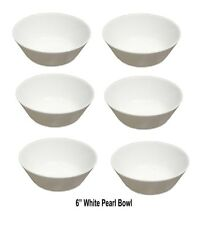 """6 x Pearl White Bowl White Oatmeal Cereal Breakfast Bowls - White Soup Bowl 6"""""""