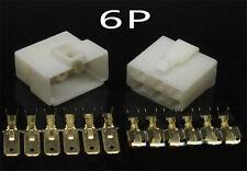 10 Kits 6 WAY PIN 6.3MM ELECTRICAL MULTI PLUG CONNECTOR TERMINAL BLOCK