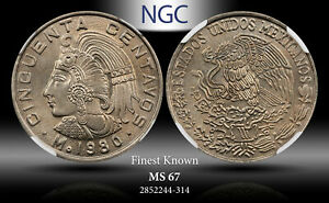 1980-MO MEXICO 50 CENTAVOS NARROW DATE SQUARE 9 NGC MS 67 FINEST KNOWN WORLDWIDE