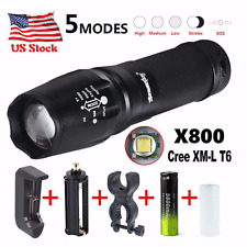 10000LM XML T6 Zoomable Tactical LED Flashlight Torch Lamp+18650 Battery+Charger