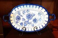 "Vintage CBK Blue Rhapsody 2 Handle Oval Serving Platter 1998 White Floral 17"""