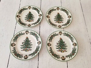 Spode Christmas Tree Garland Dinner Plates, Rare, Set of 4 - Mint Condition