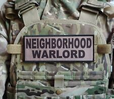 "3x8"" NEIGHBORHOOD WARLORD Tan Hook Patch Badge for Plate Carrier Airsoft"