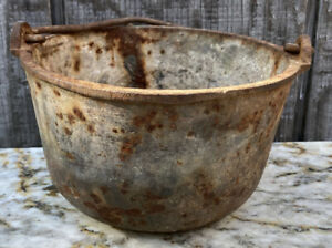 "Vintage Lead Pot #9 Cast Iron Hollands Handled 6 1/2 x 4 1/4"" Blacksmith Foundry"