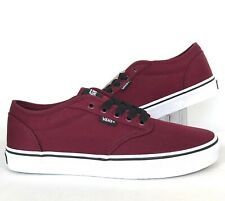 NEW Vans Mens Atwood Oxblood Maroon White Canvas Skate Sneakers Shoes Size 9.0