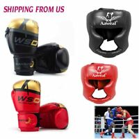 Boxing MMA Gloves With Headgear Head Guard Training Protector Gear Face Helmet