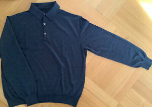 BRIONI Roma XL / 52 - 54 extrafine Merino Knitted Polo Hemd Anthrazit NEUWERTIG