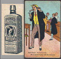 Lawyer Bar Ponds Bitters Ginger Brandy Headache Saloon Cure Telephone Trade Card
