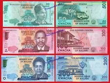 MALAWI 50 100 & 200 Kwacha 2017  Pick New  SC / UNC