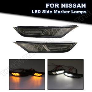 For 07-18 Nissan GTR R35 Amber/White LED Bumper Side Marker Light DRL Smoke Lens