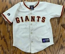 Majestic San Francisco Giants MLB Jersey Kids SZ 4T Blank Cream Distressed