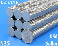 """25 Neodymium Magnets - 1/2"""" x 1/16"""" N35 Disc Magnet - Craft Strong 13mm x 1.5mm"""