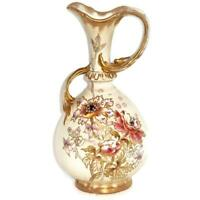 Antique Royal Bonn, Germany Franz Anton Mehlem Floral Porcelain Ewer or Pitcher