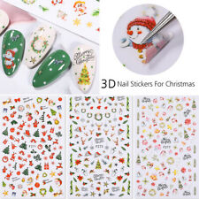 3D Nail Stickers Christmas Snowflake Santa Nail Art Transfer Decals Decoration