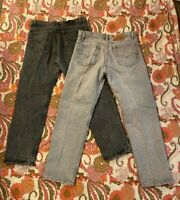 2 Pairs Vtg 80s Levi's 505 Jeans USA Made Acid Wash Gray Retro Men's Size 36x30