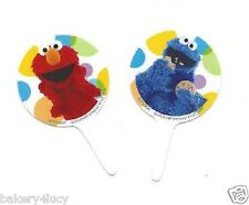 12 BIRTHDAY PARTY FAVORS CUPCAKE FUN PICKS SESAME STREET ELMO COOKIE MONSTER