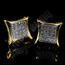 18k Gold ICED OUT Lab Diamond Stud Kite Square Hip Hop Micropave Mens Earrings