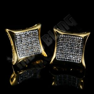 18k Gold Bling Out Iced Lab Diamond Stud Kite Square Micropave Mens Earrings