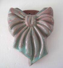 Vintage West Coast Pottery California Art Potter Bow Blue Rose Wall Pocket #451