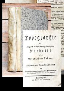 1781-82 Coburg Topographie mit 2 seltenen Nachträgen Sprengeysen 3 in 1 Bd EA